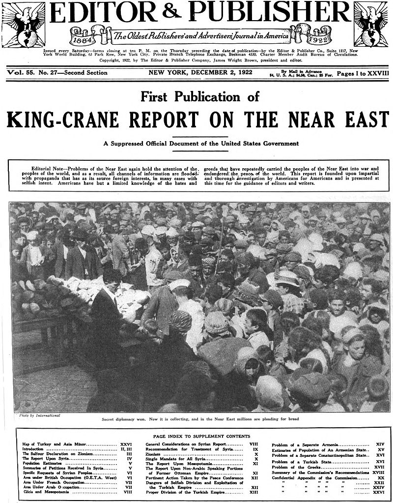 King Crane Report First Publication 1922